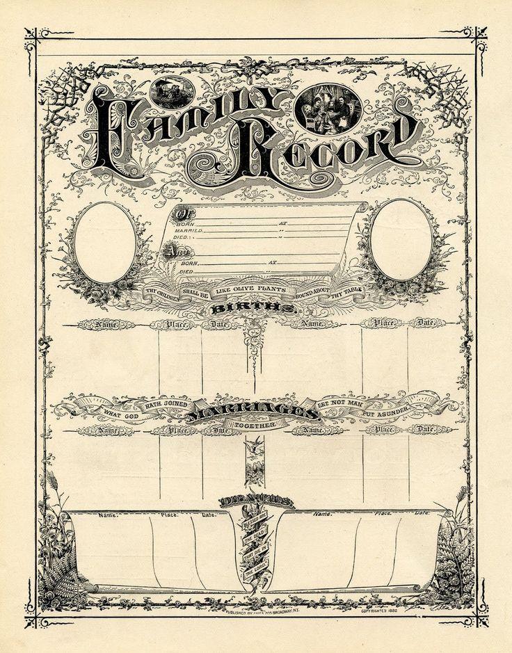 Antique Ephemera Clip Art - Printable Family Record Certificate - The Graphics Fairy