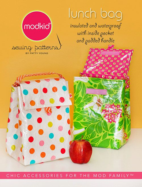 Lunch Bag sewing pattern from Modkid Boutique by SweetPeaFabricsUT, $4.95