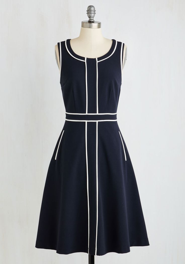 Roving Reporter Dress by ModCloth - Blue, White, Solid, Work, A-line, Sleeveless, Woven, Better, Exclusives, Variation, Private Label, Long
