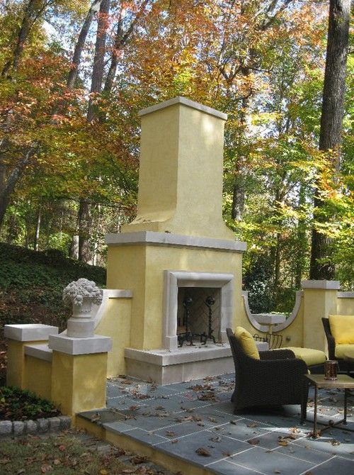 vibrant yellow against fall leaves gives warmth and presence to this lovely sitting area: Backyard Patio, Outdoor Rooms, Outdoor Living, Outdoor Patio, Outdoor Fireplaces Patio, Low Calories Desserts, Fireplaces Outdoor Lov, Outdoor Spaces, Beautiful Things