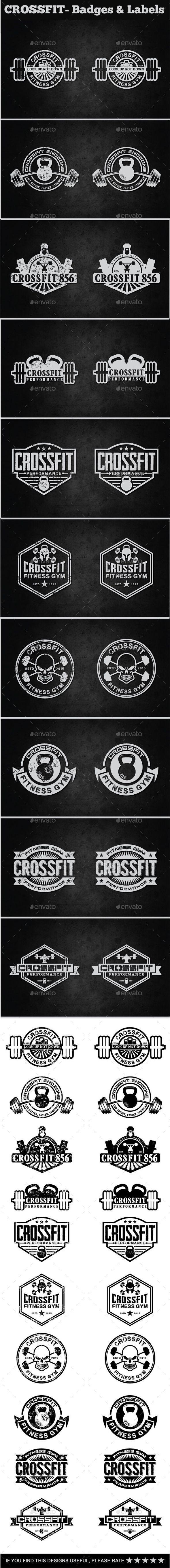 Crossfit- Labels & Badges #design #label Download: http://graphicriver.net/item/crossfit-labels-badges/11820703?ref=ksioks