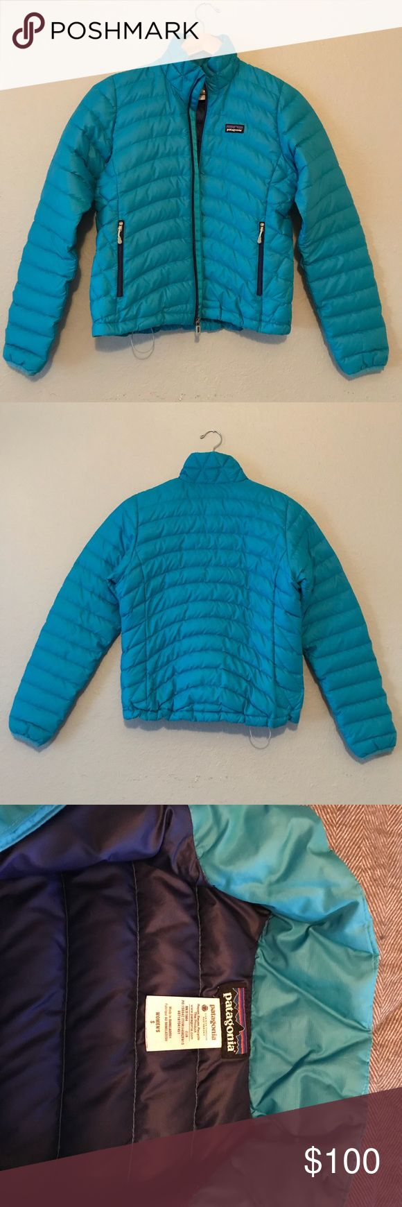 Patagonia Down Sweater Jacket Light blue Patagonia Down Sweater jacket with deep purple lining. Light weight and packable. Cozy and warm. Perfect to wear by itself on cool days or layered for colder days. In very good used condition. One barely noticeable snag shown on next to last picture. Patagonia Jackets & Coats Puffers