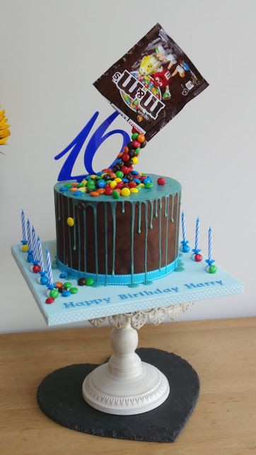 M&M gravity defying chocolate ganache drip cake
