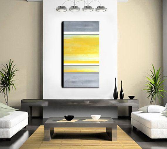 Gracias por echar un vistazo a mi arte!  Original de J.Penton - estudio de la Luna Roja Abstracto - moderno - contemporáneo   Título: venga No.2 TAMAÑO: Total dimensiones 48 x 24 x 0.75  COLORES: Combinación de amarillo dorado, amarillo, amarillo pálido y tonos de gris. RAYAS: Gris medio, gris carbón, blanco, oro amarillo, gris MEDIO: Acrílico sobre galería envuelto, lona estirada. ENVÍO: Incluido en el precio dentro de los continentales nos.  Acrílico sobre lienzo profesionalmente estirado…