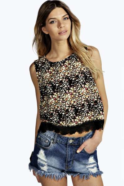 Esther Floral Print Crochet Trim Sleeveless Top at boohoo.com