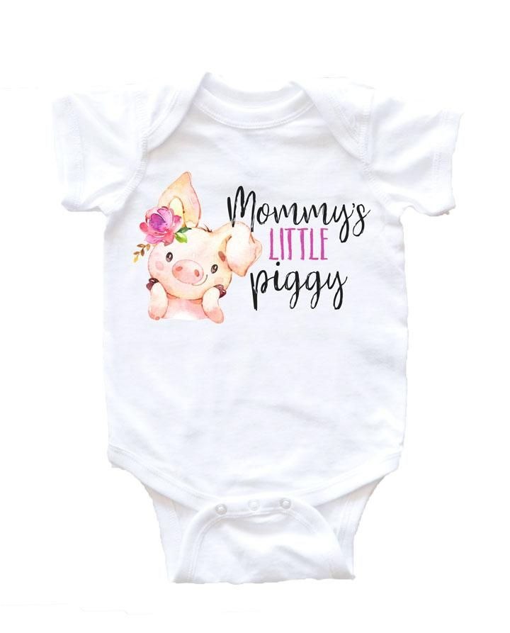 0554f3271 baby girl piggy onesie, mommy's little piggy onesie, cute baby girl clothing
