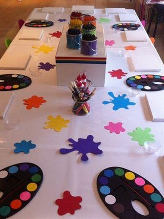 Kids art Party- cute table idea