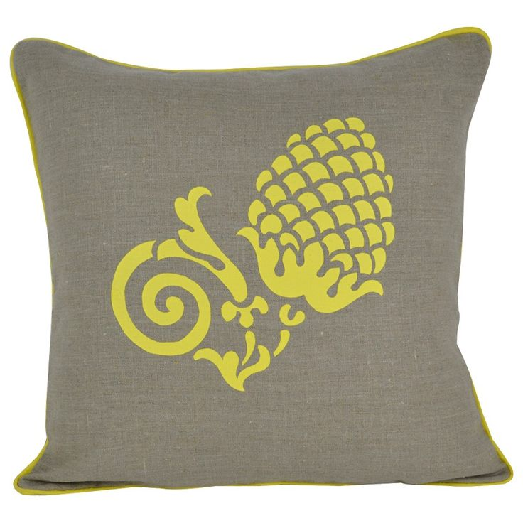 LEMON PINE CONE LINEN CUSHION - I have always loved pine cones, I collected a few when I visited country Victoria & decided to do a print on the pine cone....handscreenprinetd by me onto pure Russian linen using eco-friendly inks, another colourway coming soon & now available at our website.