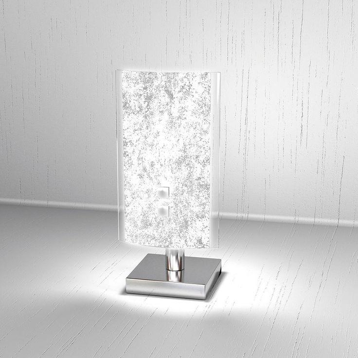 Lampada da Tavolo moderna BRICKA Lumetto diffusore in Vetro Satinato Foglia Argento Abat-Jour Scrivania, Comodino, Comò: EURO 89,00