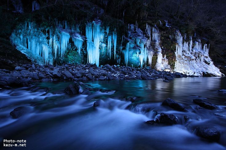"""Icicles appear on the surface of a mountain that faces the Arakawa river. During the """"Otaki Ice Festival,"""" icicles will light up and show us a whimsical landscape."""