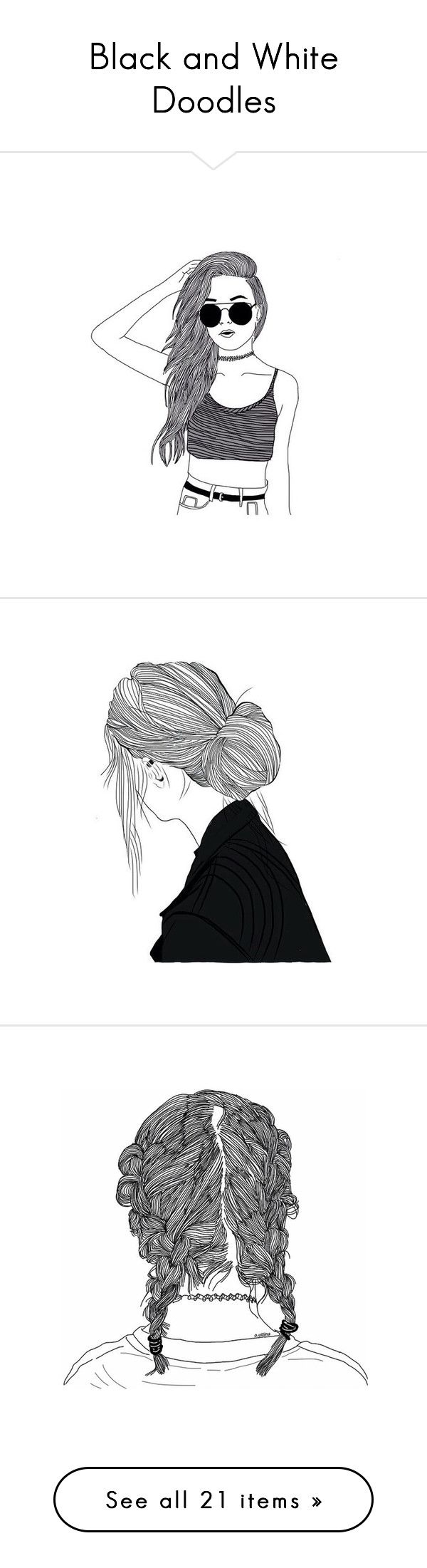 """Black and White Doodles"" by jabp ❤ liked on Polyvore featuring fillers, drawings, doodles, art, outlines, doodle fillers, backgrounds, text, phrase and quotes"
