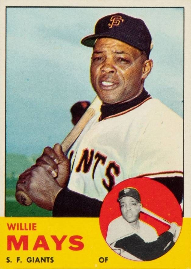1963 Topps Willie Mays 300 Baseball Card In 2020 Willie Mays Baseball Baseball Cards