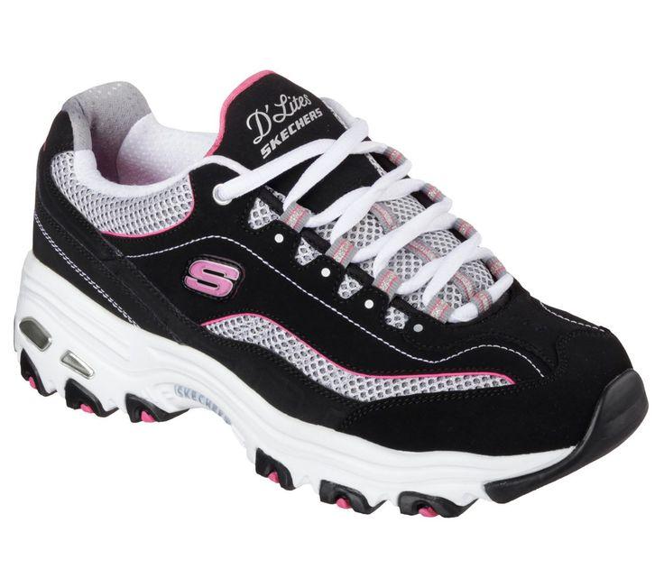 Skechers Women'S D'Lites Life Saver Sport Lace Up Sneaker Shoes Black/Pink 11860