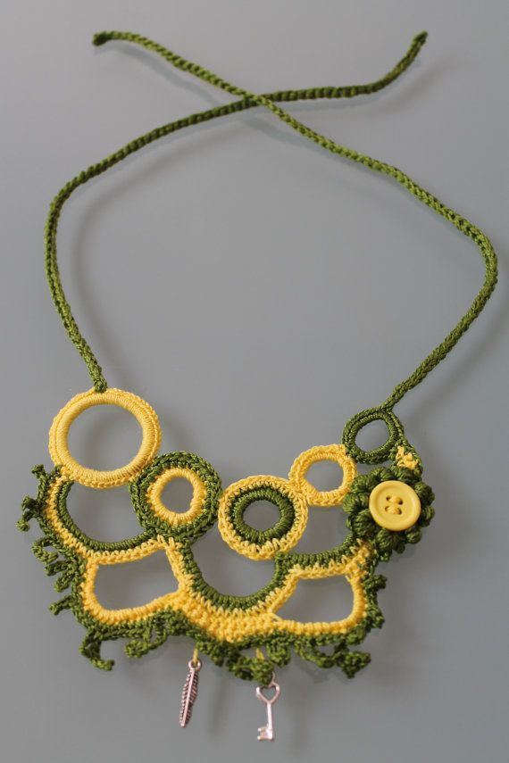 Green Yellow Crocheted  Necklace