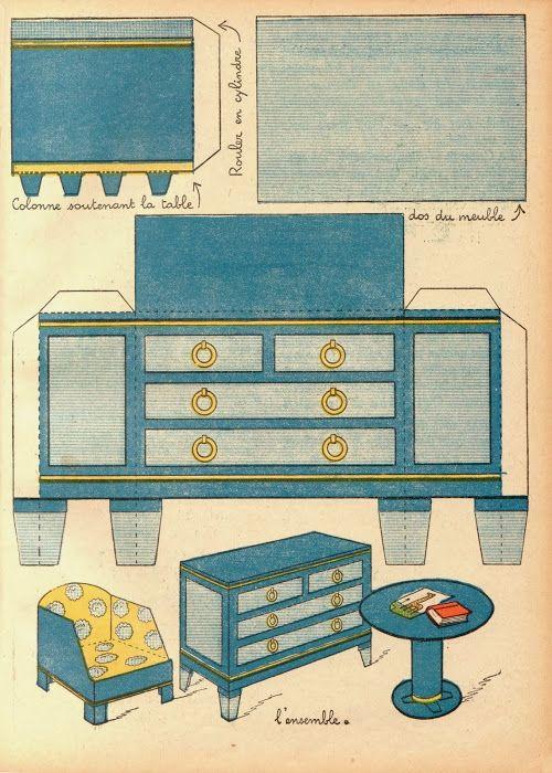 CASITA DE PAPEL Muebles clásicos  Paper craft  Pinterest