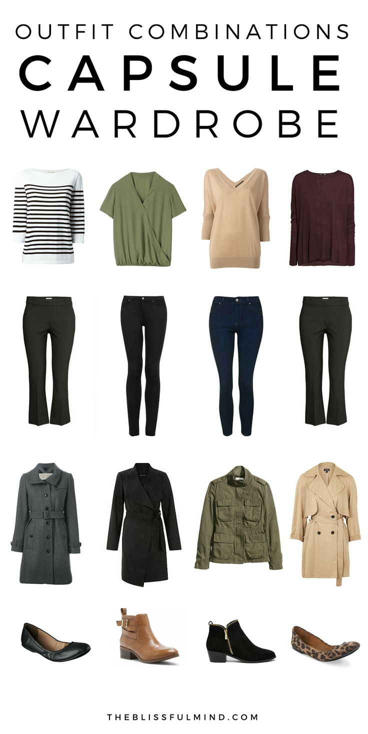 Fall winter capsule wardrobe outfit combinations. Click through to find out where to buy the items pictured!