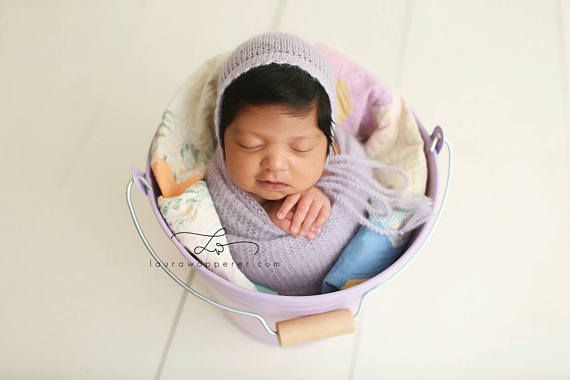 Newborn photo prop bonnet wrap set in soft purple mohair and silk 💜 https
