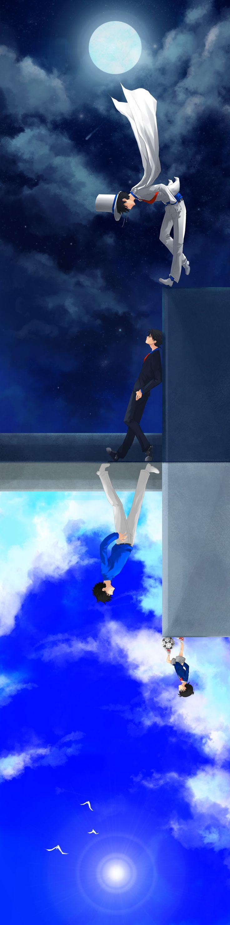 Detective Conan. Sinichi Koudo and Kaito Kid.
