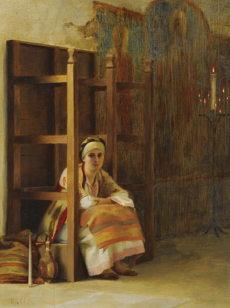 Young Girl in a Greek Church (Theodoros Ralli - )