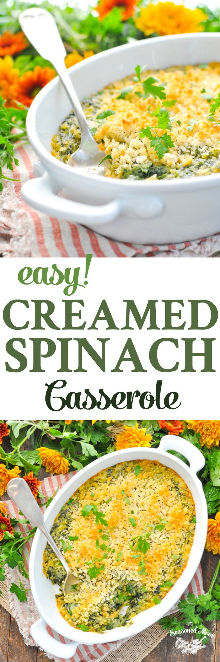 This Easy Creamed Spinach Casserole is a family recipe that's a perfect side dish for Thanksgiving dinner! Sides | Thanksgiving Party | Side Dish Recipes | Vegetarian Recipes #sides #vegetables #veggies #vegetarian