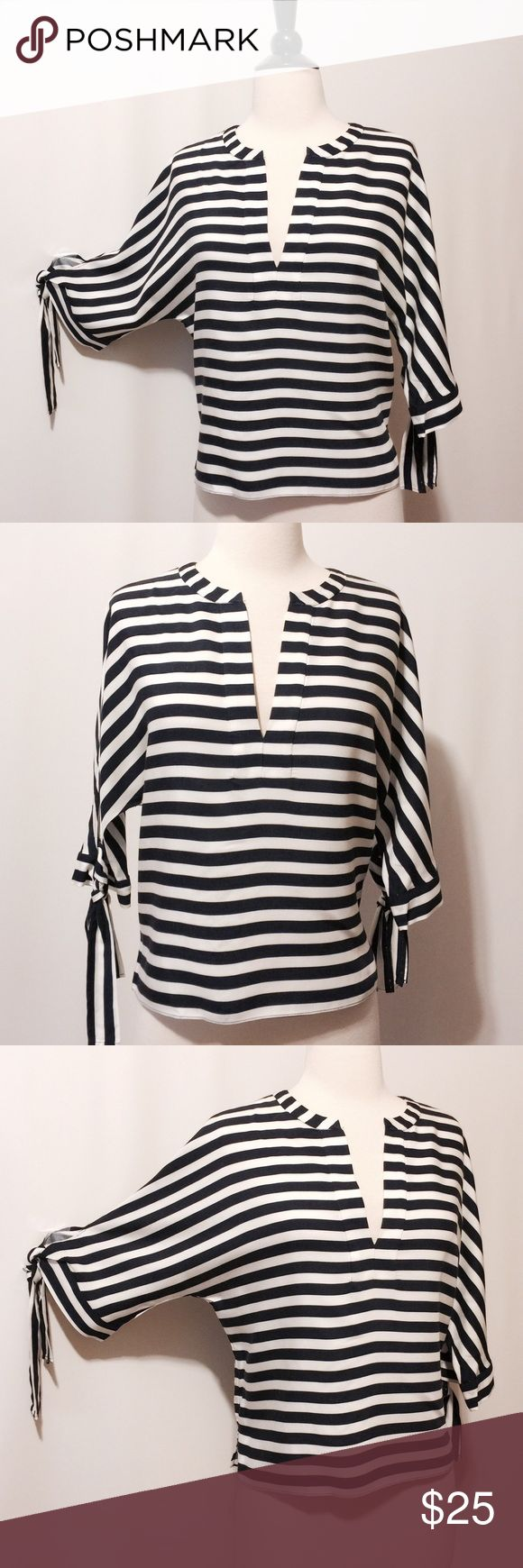 """HP  Zara Navy & White Stripe Blouse NWOT  11/5 Best in Tops Host Pick by @ginger_nj  Amazing! Nautically stripes, batwing three quarter sleeves with tie, side slits. 100% Viscose Dry clean only 40"""" bust 22""""overall length Zara Tops Blouses"""