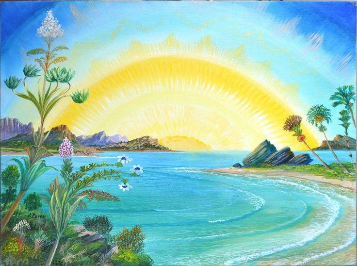 Vibrant Visionary landscape by artist Joseph Parker (American, 1930-2009). Parker was born in Stropkov, Czechoslovakia. He studied art in Sydney, Paris, then Israel. Available on 1stdibs.com under Robert Azensky Fine Art.