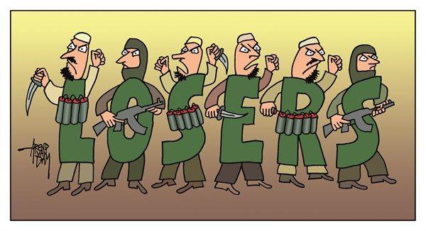 Arend Van Dam - politicalcartoons.com - losers - English - IS, ISIS, muslim extremists, terrorists, suicide attack, terror