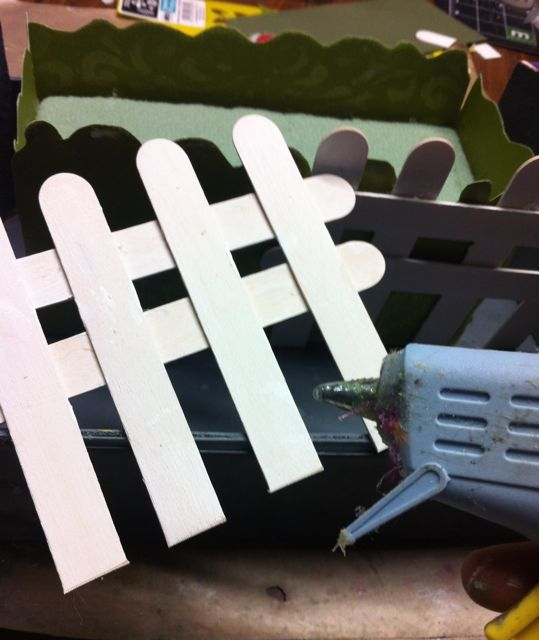 "Make a Picket fence out of Popsicle sticks and ""Picket Fence"" Distress Stain"