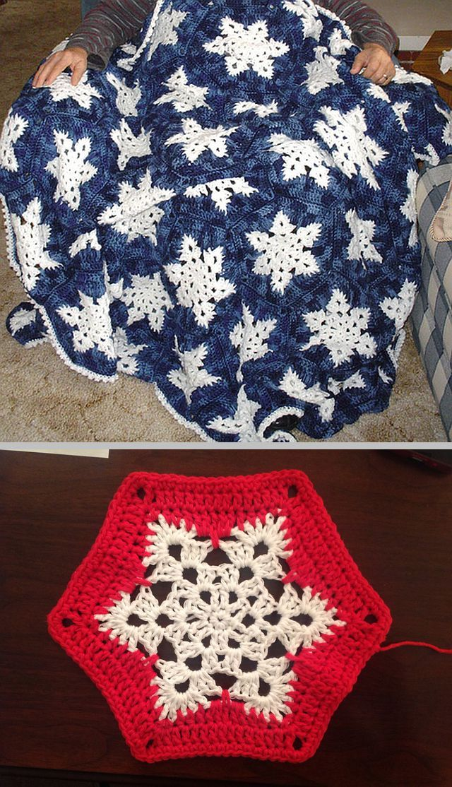 Snowflake Afghan, free pattern by Lois Olson. These are good-sized hexagons . . . . ღTrish W ~ http://www.pinterest.com/trishw/ . . . . #crochet #blanket #throw #hexagon