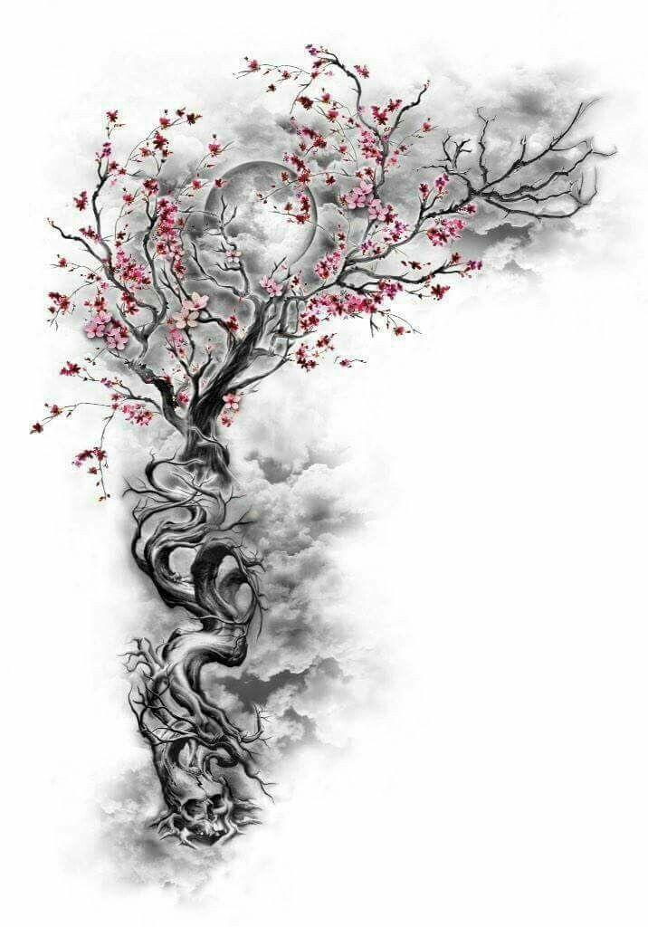 Cherry Blossom Tree W Hidden Designs Incorporated Night Sky Moon Body Art Tattoos Tattoos Sleeve Tattoos