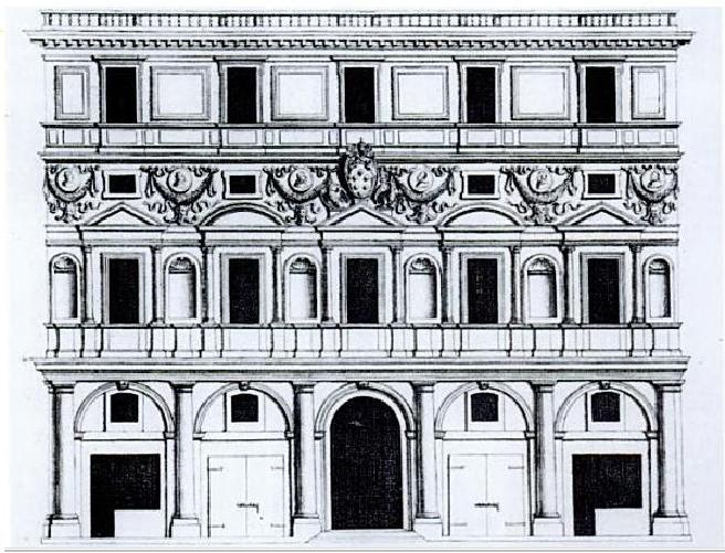 Incisione seicentesca del Palazzo Branconio dell'Aquila di Raffaello