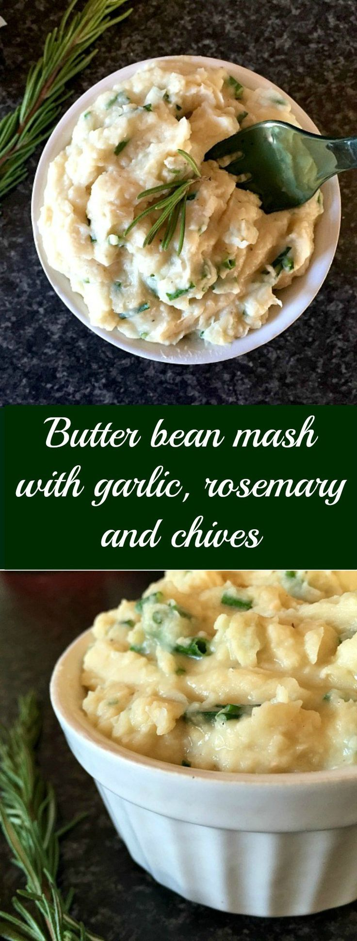 Butter bean mash with garlic, rosemary and chives, a great vegan side dish recipe that is low in fat and loaded with protein and fibre. Simple, delicious and healthy.