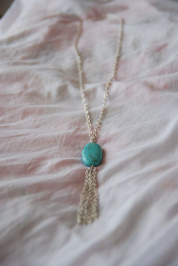 Turquoise Tassle Necklace by hellobrighteyes on Etsy, $8.80