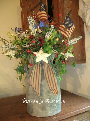 """LOVE this!!!  Was gonna say """"hey I have one just like that"""" and when I clicked on the link - it IS the auction I won!!!  Love this arrangement!!!COUNTRY SUMMER AMERICANA,PATRIOTIC PRIMITIVE ARRANGEMENT, FLAGS, WREATHS"""