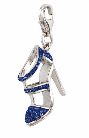 Amore & Baci silver charm - blue high heel shoe