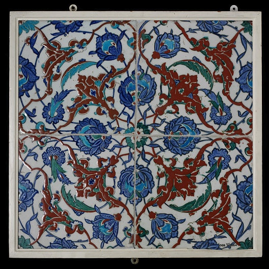 In the Middle East, tilework was originally developed as a decorative cladding for brick structures. After 1400 its use spread to Turkey, where tiles were applied to stone buildings using mortar. The most accomplished type had colourful designs painted on a brilliant white ground. Tiles from the Turkish city of Iznik soon became very popular. Iznik, Turkey, ca 1560-1590