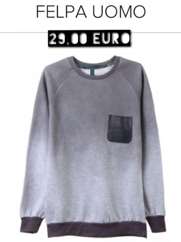 Felpa con inserti in ecopelle, sfumata, girocollo €29,00