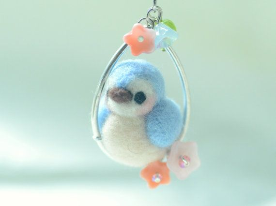 Bird necklace needle felted bird jewelry soft by NozomiCrafts