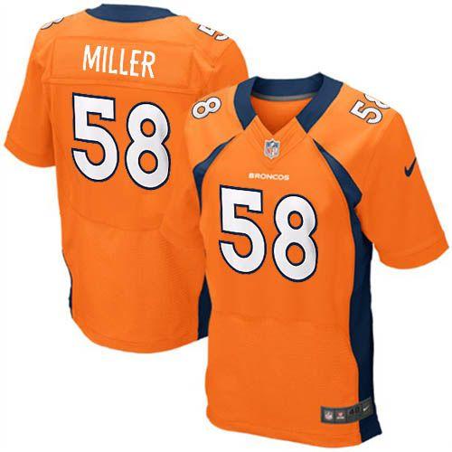 Nike Elite Nike NFL Men's Denver Broncos #58 Von Miller Team Color Orange  NFL Jersey
