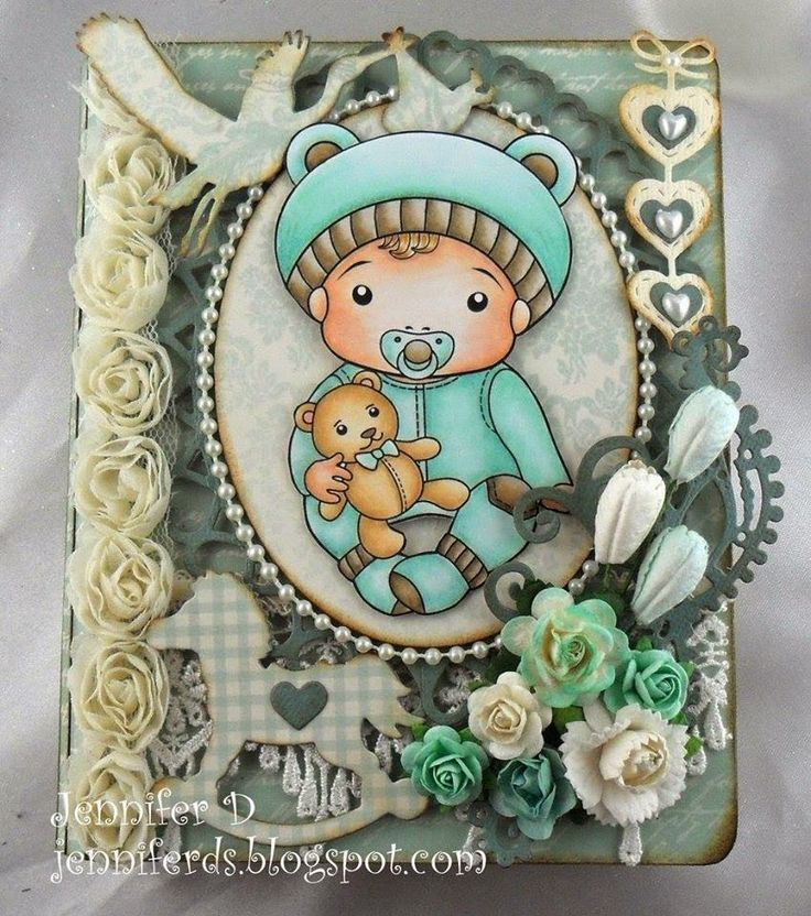 CHA 2015 New Release Showcase - Day 4! Card by Jenny Dix featuring Baby Luka and these Dies Rocking Horse, Stork, Large Lacy Border, Hanging Hearts, Open Hearts Doily Border, Masquerade Mask :-) Shop for our NEW products here - http://shop.lalalandcrafts.com/NEW_c16.htm More Design Team inspiration here - http://lalalandcrafts.blogspot.ie/2015/01/cha-2015-new-release-showcase-day-4.html