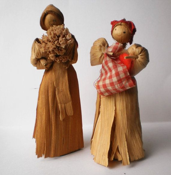 Corn Husk Dolls Appalachian Mountain Souvenir Farmhouse Primitive Corn Shuck Figures Fall Harvest Handmade Western N.C.Farm Folk Art