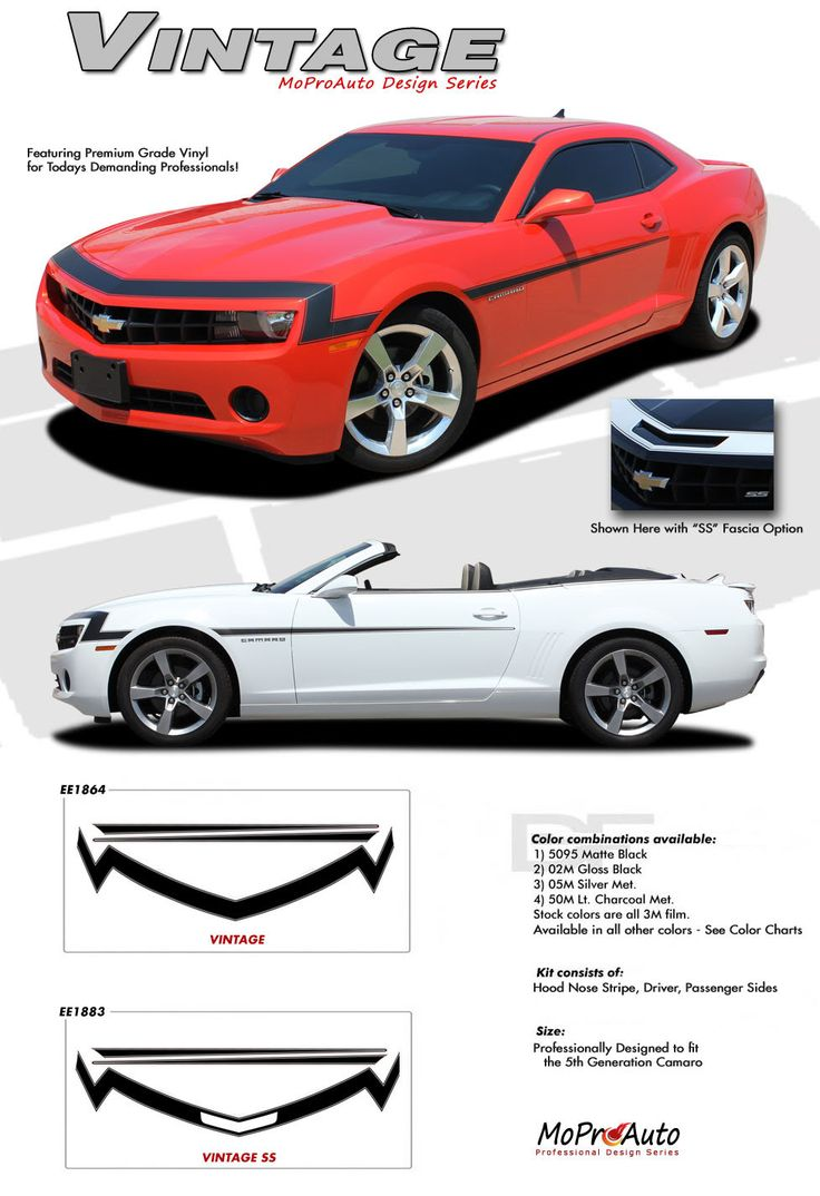 Camaro vintage 2010 2011 2012 2013 chevy camaro style nose and fascia vinyl graphics stripe kit vinyl graphics decals striping kit factory oem style