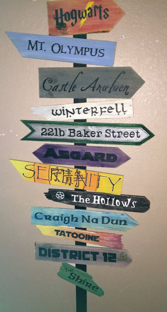 Fictional Places Sign 10-12 locations by TheArtsyLion on Etsy