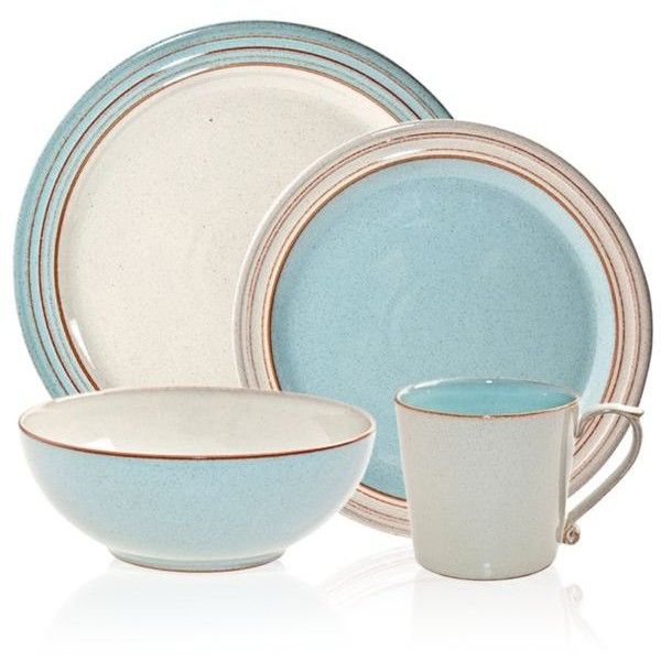 Denby  Heritage Fountain 16-Piece Dinnerware Set (4,195 MXN) ❤ liked on Polyvore featuring home, kitchen & dining, dinnerware, pastel blue, denby, light blue dinnerware, colored dinnerware sets, colored dinnerware and denby dinnerware