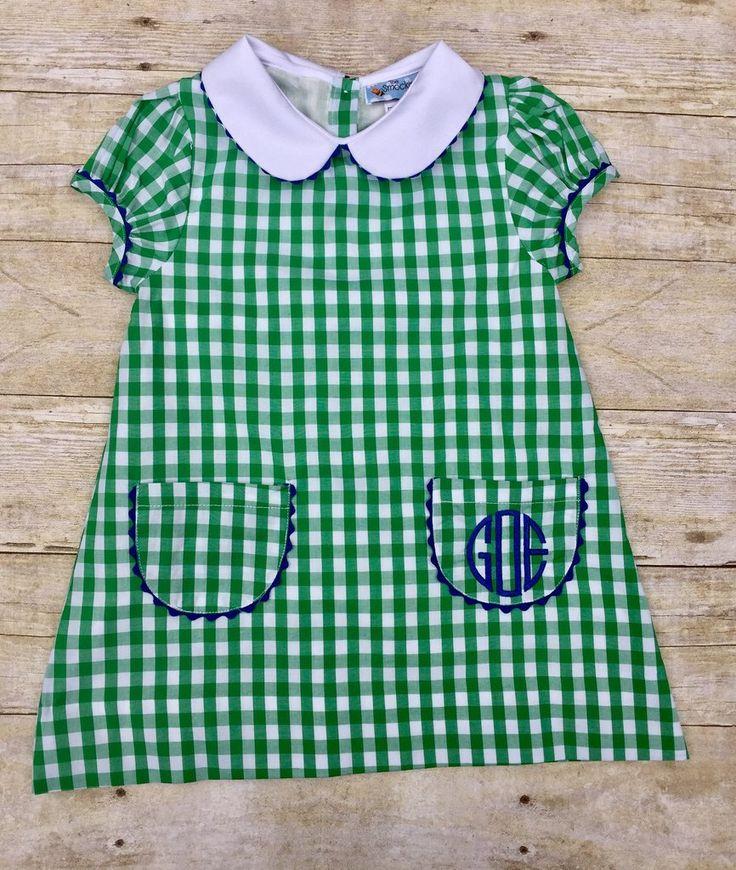 Green Gingham Vintage Style Pocket Dress