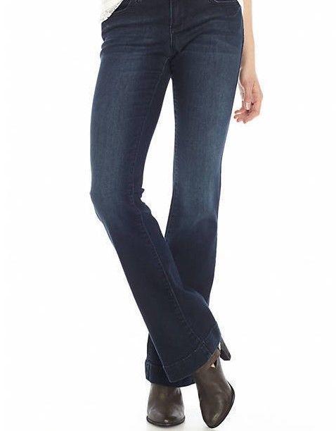 1b2e933f318 Earl Jeans Flare leg Dark Wash Stretch woman s Petite NEW Size 12P   EarlJean  Flare