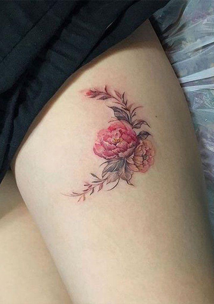 9d9e7e959 Watercolor Red Floral Flower Moon Thigh Tattoo Ideas for Women - Ideas de  tatuaje de flores para mujeres - www.MyBodiArt.com