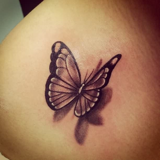 Neat black and white 3D realistic butterfly tattoo - Tattoos.re