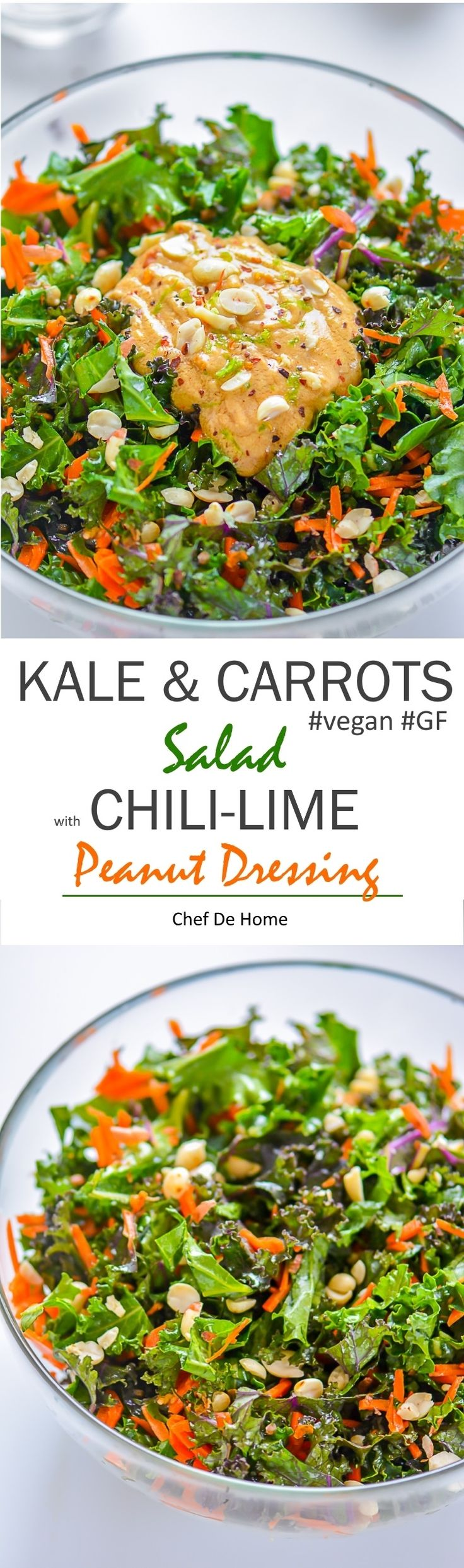 Healthy Vegan Kale and Carrot Salad dressed in vegan and gluten free chili lime peanut dressing   chefdehome.com