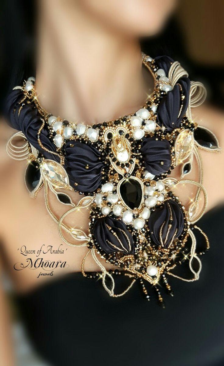 Necklace  'Queen of Arabia'  shibori silk , soutache , bead embroidery by Mhoara…